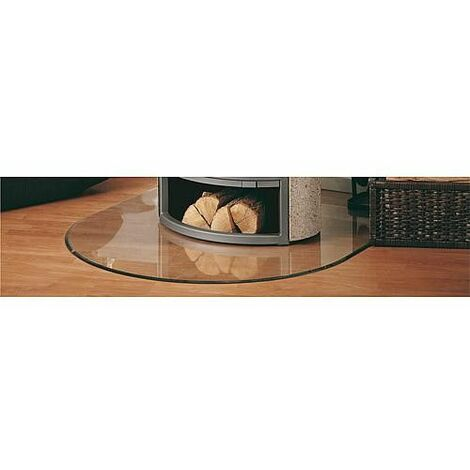 Plaque de sol verre 6 mm pour poele - arrondie B3 avec percage