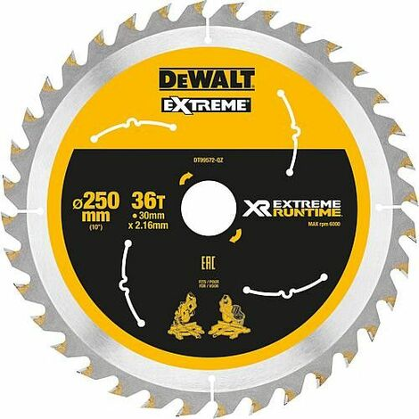 Lame de scie circulaire DeWalt, DT99572 XR Extreme Runtime 36Z 250/30 mm