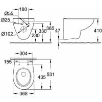 Grohe pack WC Rapid SLX autoportant avec cuvette rimless Bau Ceramic   Abattant standard