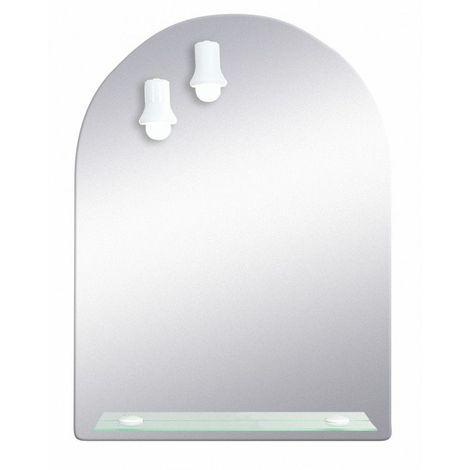 Miroir de salle de bains avec éclairage FLUO-COMPACTE - Arche - 79 cm x 58,5 cm (HxL)