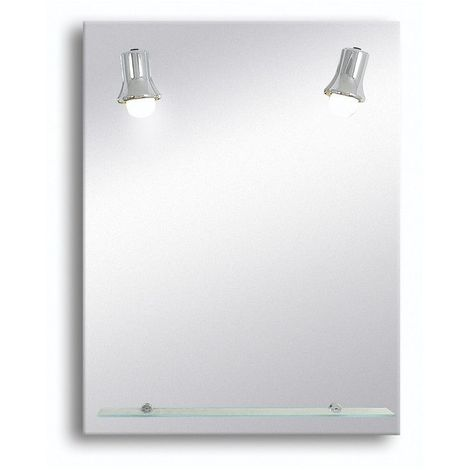 Miroir de salle de bains avec éclairage FLUO-COMPACTE - Modèle Spots Chromes - 65 cm x 50 cm (HxL)
