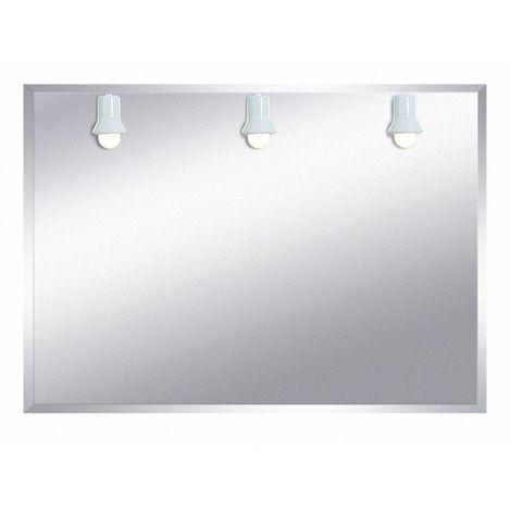 Miroir de salle de bains avec éclairage fluo-compacte - Modèle Trois Spots- 75 cm x 105 cm (HxL)