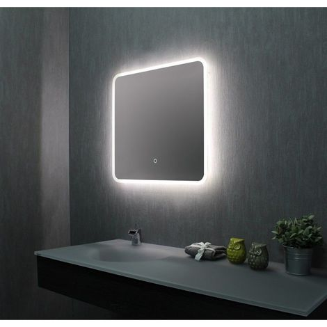 Miroir de salle de bains avec LED - 60 cm x 60 cm (HxL)
