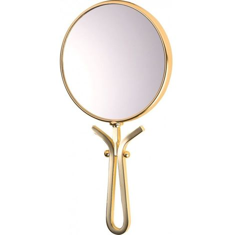 Miroir Grossissant (X5) à Main Doré - Chrome