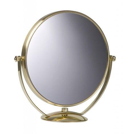 Miroir Grossissant à poser (X7) - Doré - Diamètre: 20 cm - Doré