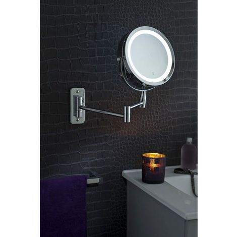 Miroir Grossissant (X5) Lumineux Mural - Diamètre: 17,5 cm - Chrome