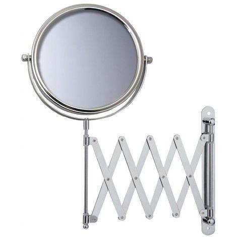 Miroir Grossissant (X5) Mural Rond extensible - Chrome -Diamètre: 17 cm - Chrome