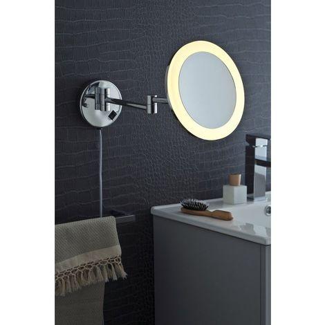 Miroir Grossissant (X3) Lumineux Mural - Diamètre: 21,5 cm - Chrome