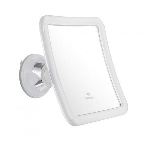 Miroir Grossissant à ventouse (X5) - Blanc - Carré : 16 x 16 cm - Blanc
