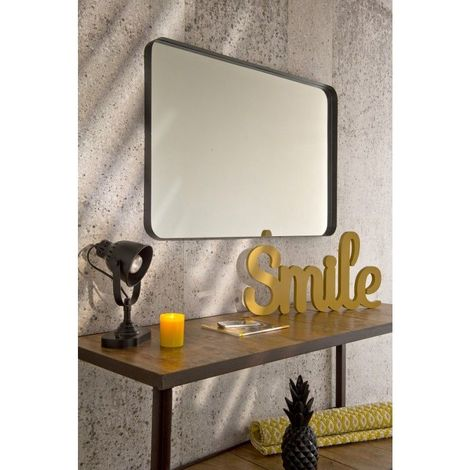 Miroir Décoratif - Encadrement Métallique Noir - 60 cm x 90 cm (HxL) - Metal