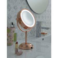 Miroir Grossissant éclairant à poser X5 - Finition Cuivrée - Diamètre: 15 cm - Chrome