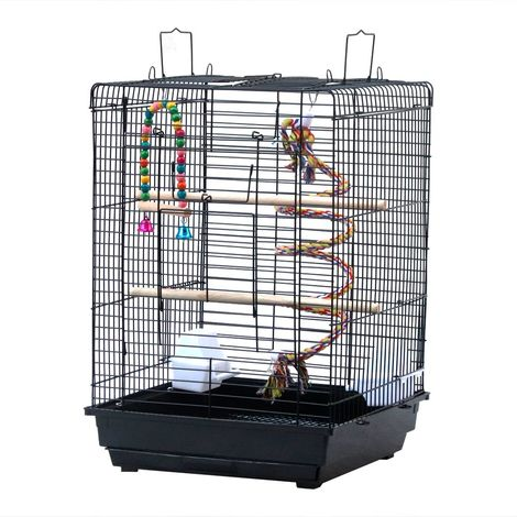 Petite cage d'oiseau à toit ouvert Cage perroquet perruche calopsitte perroquet avec jouet