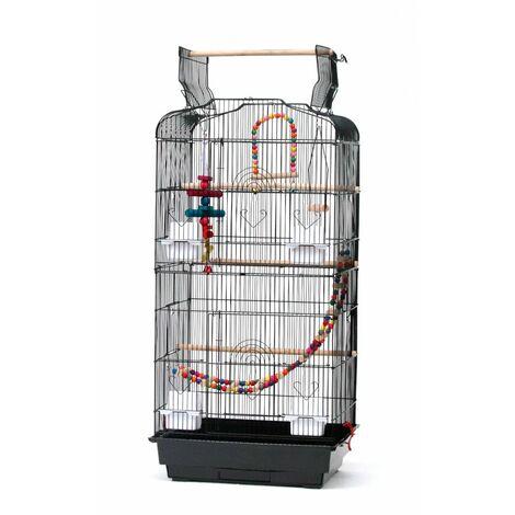 """37 """"cage à oiseaux articles pour animaux de compagnie cage métallique avec jeux ouverts et remorque jouets supplémentaires"""