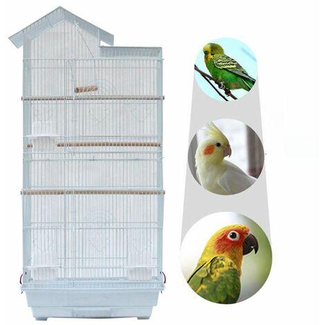 "39 ""BIRD perroquet cage canari perroquet coccatier Love Bird cage Wood Habitat and Food Cup 3 Bird Toys - Blanc - Blanc"