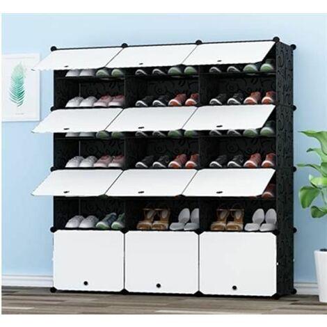 7 tier portable 42 unLes chaussures.Organisateur de chassis 21 étagères rangement de Tours talons, bottes pantofles - Noir - Noir