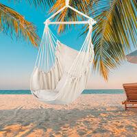 Chaise suspendue en corde à suspendre en toile de coton avec oreillers beige
