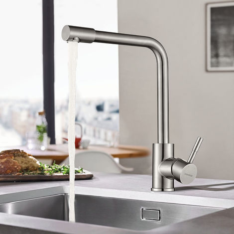 WOOHSE grifo de cocina grifo giratorio 360 ° grifo de cocina grifo monomando grifo de acero inoxidable grifo de lavabo grifo de fregadero de cocina para fregaderos de cocina