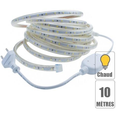 Kit ruban led 220V 10 mètres Blanc chaud étanche IP67