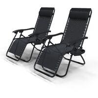 VOUNOT Liegestuhl Klappbar, Relaxstuhl Garten mit Getränkehalter und Kopfpolster, Schwarz x 2