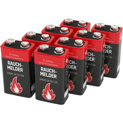 ANSMANN Piles alcalines bloc 9V pour détecteurs de fumée - Qualité supérieure - 8 pcs.