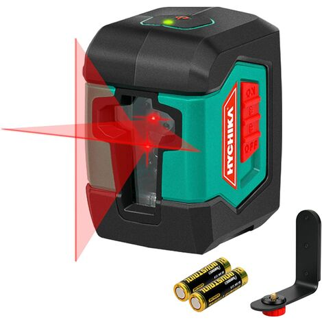 Niveau Laser, HYCHIKA 15M Autonivelant avec Deux Module Laser (Alternant Lignes Simples et Doubles), 360° Laser Rotatif avec Support, étui de Protection 2 Piles AA