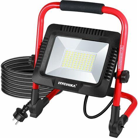 Projecteur Chantier LED 50W,HYCHIKA 5500LM Projecteur de Chantier, 6500K Blanc, IP65 Imperméable, Rotation à 360°, Lampe Chantier à Luminosité Réglable, Câble de 3M avec Prise[Classe énergétique A++]