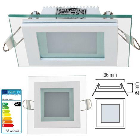Faretto led 6W Pannello vetro incasso Quadrato luce Naturale 4200k
