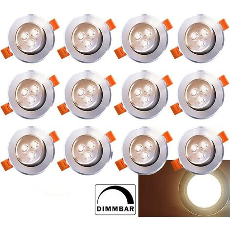 20X 3W LED Spot Einbaustrahler Set Einbau Strahler Wohnzimmer Kaltweiß 230V IP44