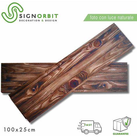 CASTAGNO pannello finto legno In EPS Resinato Listello Misura 100x25 Cm. Pezzi 4 Totale 1 Mq