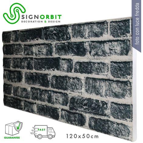 CARBON pannello finto mattone in EPS Resinato Misura 120x50 Cm spessore 2 cm