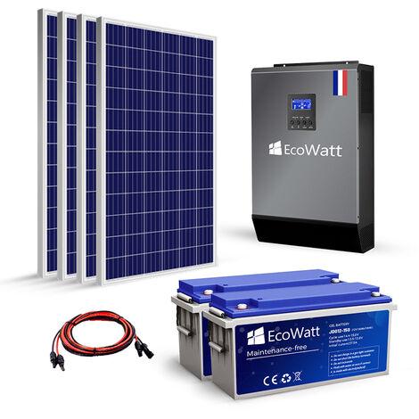 Kit solaire 1120w autonome hybride MPPT 3kva 24v-230v stockage 4800wh