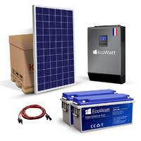 Kit solaire 1680w autonome hybride MPPT 24v-230v 3KVA stockage 4800wh