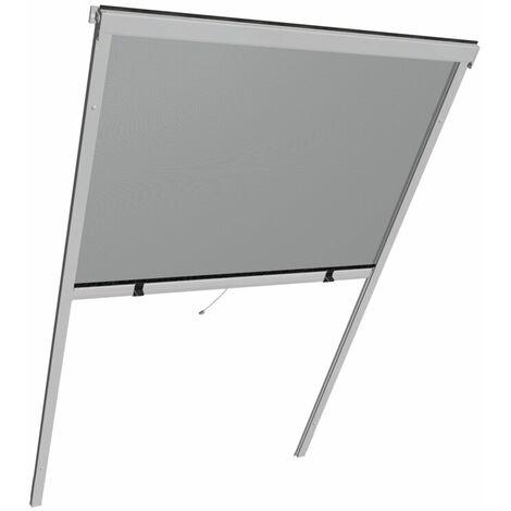 Store moustiquaire basculant pour fenêtre de toit Store pour fenêtre de toit en aluminium 130x160cm, gris argenté