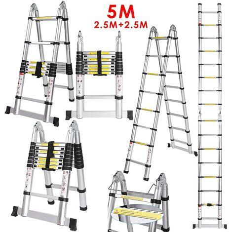 échelle télescopique aluminium pliante Extenable 5M - Argenté