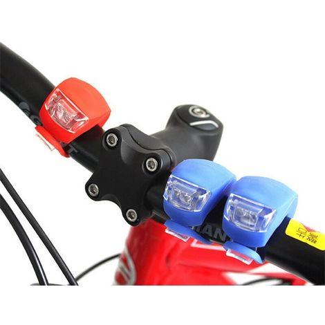 LED silicone étanche vélo avant feux arrière de vélo poussoir cycle clip lumière Bleu - Bleu