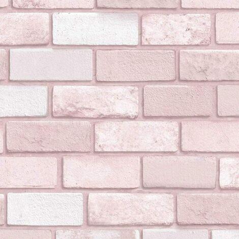 Arthouse Diamond Pink Brick Wallpaper - 260005