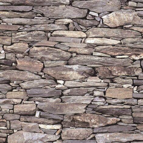 Brick Effect Wallpaper Slate Stone Rustic Weathered Realistic 3D Beige Debona - 1282