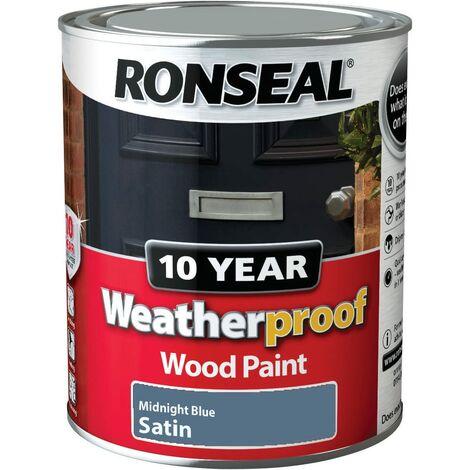 Ronseal 10 Year Weatherproof Paint Satin Midnight Blue 750ml