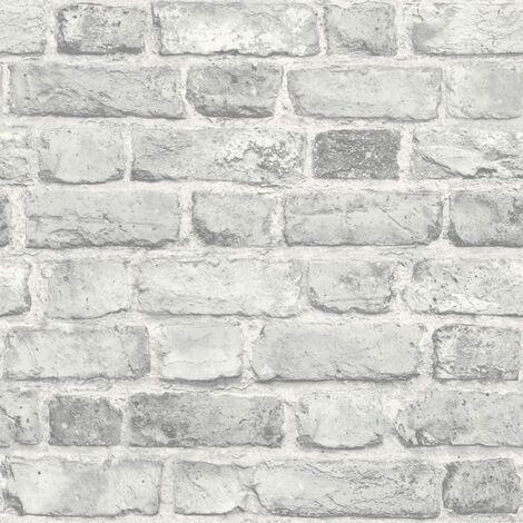 Grandeco Vintage House Brick Pattern Wallpaper Faux Effect Textured A28903