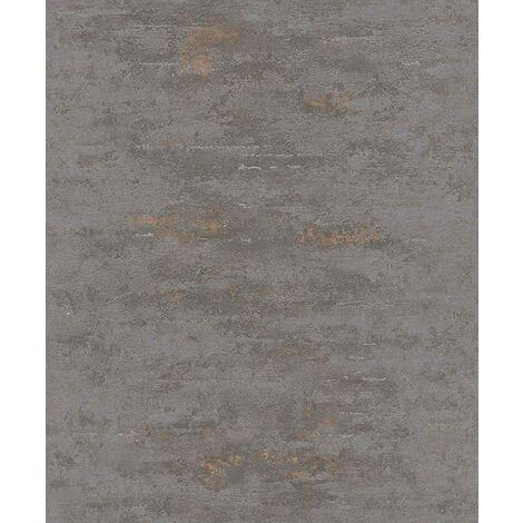 VerticalArt Industrial Stone Concrete Brick Wallpaper Paste The Wall Grey Metallic Copper ON4201