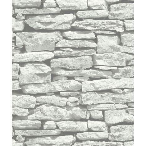 Arthouse VIP Moroccan Wall White Slate Stone Wallpaper 623009