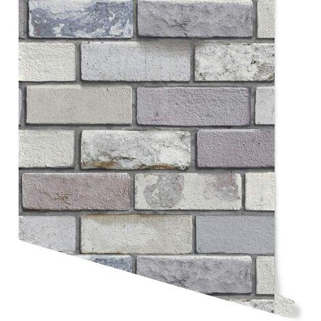 Arthouse Brick Effect Wallpaper Grey