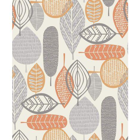 Arthouse Malmo Retro Nature Leaf Design Wallpaper - Orange 902301