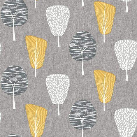 Arthouse Retro Tree Grey Mustard Yellow Ochre Nature Quality Wallpaper 902309