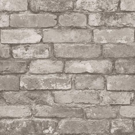 Brewster FD31286 Rustic Brick Wallpaper, Grey