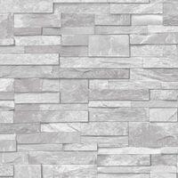 3D Slate Stone Brick Effect Wallpaper Washable Vinyl Natural Grey A17202