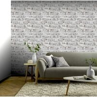 Arthouse 671100 Washed Wall Wallpaper, White
