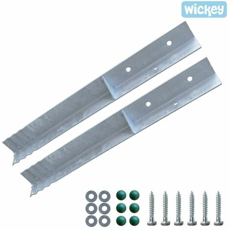 WICKEY Ground anchor post anchor set SolidLock 2 pieces for climbing frame & swing set, angle anchor for play tower & garden fence