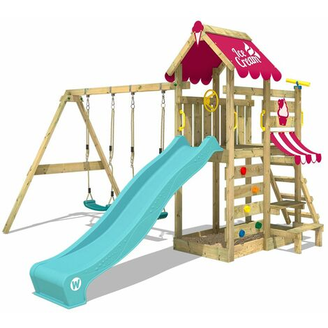 WICKEY Wooden climbing frame VanillaFlyer with swing set and turquoise slide, Garden playhouse with sandpit, climbing ladder & play-accessories