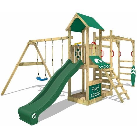WICKEY Wooden climbing frame Smart Dock with swing set and green slide, Garden playhouse with sandpit, climbing wall & play-accessories
